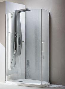 paroi de douche battante / d'angle / courbée / en verre