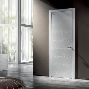 porte d'intérieure / pivotante à axe excentré / en bois massif / affleurante