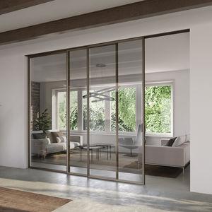 porte d'intérieure / coulissante-empilable / en aluminium / vitrée
