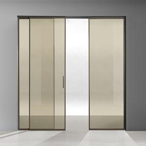 porte d'intérieure / coulissante / en aluminium / en verre