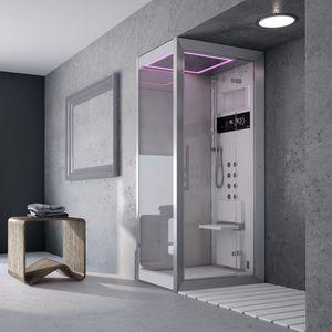 cabine de douche d'hydromassage / en verre / d'angle / avec porte battante