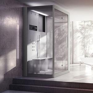 cabine de douche à vapeur / d'hydromassage / en verre / rectangulaire