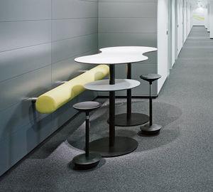table mange-debout contemporaine / en bois / en métal / ronde