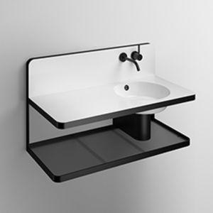 vasque suspendue / rectangulaire / en verre / en acier vitrifié
