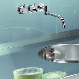 mélangeur pour vasque / encastrable / en acier inoxydable / de cuisine