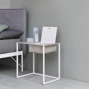 table de chevet contemporaine / en peau de vache / avec piètement en acier peint / rectangulaire