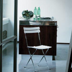 chaise contemporaine / pliante / en acier peint / en nylon
