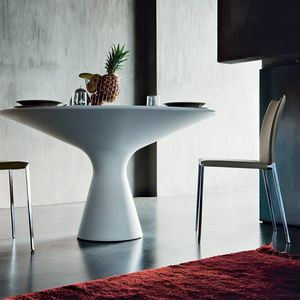 table contemporaine / en CristalPlant® / ronde / blanche