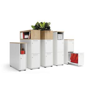 caisson de bureau en bois / en mélaminé / à 2 tiroirs / avec porte battante
