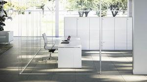 séparateur de bureau au sol / en verre / en aluminium