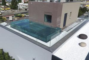 piscine semi-enterrée / en verre / en inox / pour hôtel