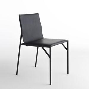 chaise de salle à manger contemporaine / en cuir / en métal / en marbre