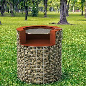 barbecue à bois / fixe / en pierre