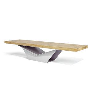 banc public / contemporain / en bois / en acier galvanisé