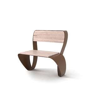 chaise contemporaine / en bois / en acier galvanisé / en acier COR-TEN®