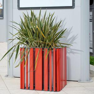 jardinière en bois / en acier galvanisé / carrée / contemporaine