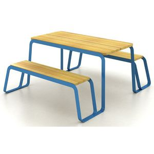 table de pique-nique contemporaine / en bois massif / en acier peint / rectangulaire