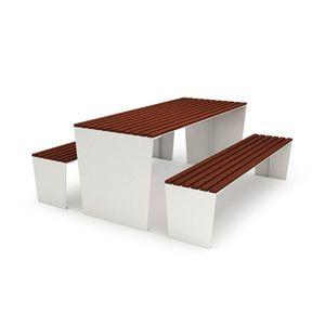 table de pique-nique contemporaine / en bois / en acier galvanisé / en acier corten