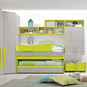 chambre d'enfant verte / en bois laqué / mixte