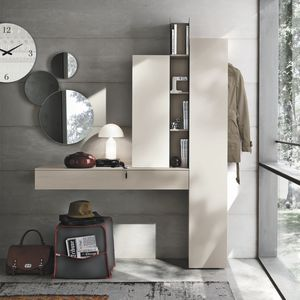 meuble d'entrée contemporain / mural / en bois laqué / avec miroir