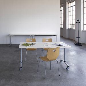 table de travail contemporaine / en mélaminé / en ABS / avec piètement en métal