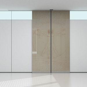 porte d'intérieure / coulissante / en verre / en acier