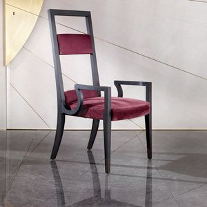chaise classique / tapissée / avec accoudoirs / piètement standard