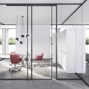 cloison fixe / en bois / vitrée / en aluminium