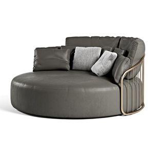 canapé rond / contemporain / en cuir / en métal