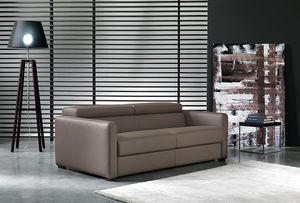 canapé lit / contemporain / en cuir / 2 places