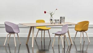 table à manger contemporaine / en chêne / en linoléum / rectangulaire