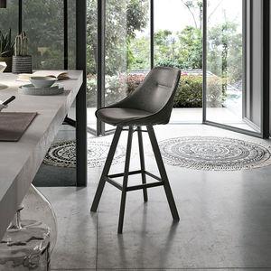 chaise de bar contemporaine / tapissée / avec repose-pieds / piètement standard