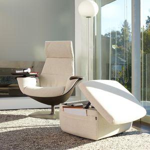 fauteuil visiteur contemporain / en tissu / en cuir / pivotant