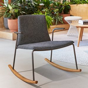 fauteuil visiteur contemporain / en tissu / en bois / à bascule