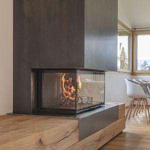 cheminée à bois / contemporaine / à foyer fermé / à 3 faces