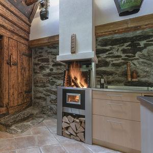 cheminée à bois / contemporaine / à foyer ouvert / murale