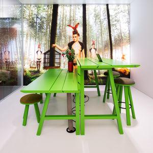 table de pique-nique contemporaine / en bois / rectangulaire / professionnelle