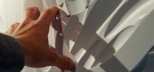 panneau décoratif en Corian® / en bois massif / mural / 3D