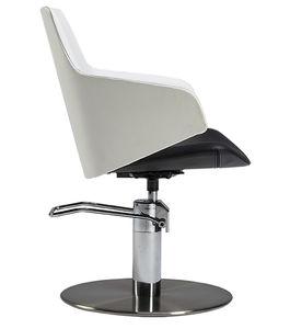 fauteuil de coiffure vintage / en acier / en inox / piètement central