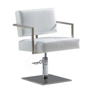 fauteuil de coiffure en polyuréthane / avec pompe hydraulique / piètement central / blanc