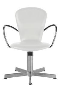 fauteuil de coiffure en métal chromé / piètement étoile / blanc