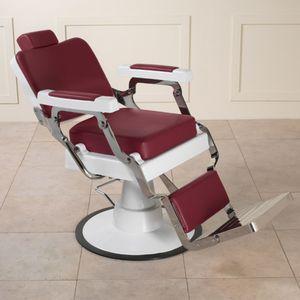 fauteuil de barbier en acier inoxydable / en simili cuir / avec repose-pieds / avec repose-tête