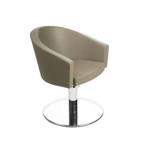 fauteuil de coiffure contemporain / en simili cuir / piètement central / rouge