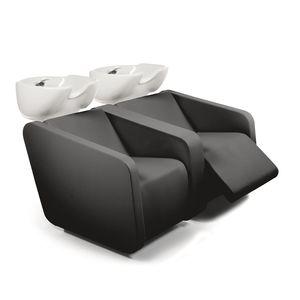 bac à shampoing avec repose-pieds / 2 places