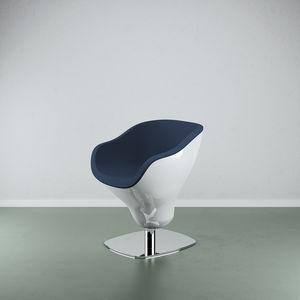 fauteuil de coiffure contemporain / en acier / en simili cuir / en fibre de verre