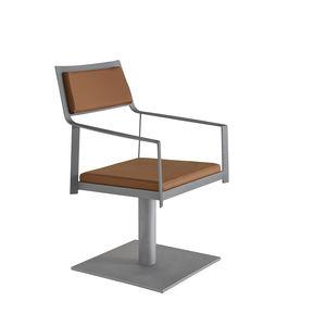 fauteuil de coiffure contemporain / en acier / en simili cuir / piètement central