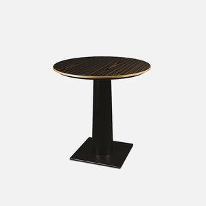 table à manger contemporaine / en hêtre / en métal / ronde