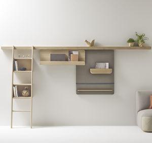 système d'étagères mural / contemporain / en bois massif / résidentiel