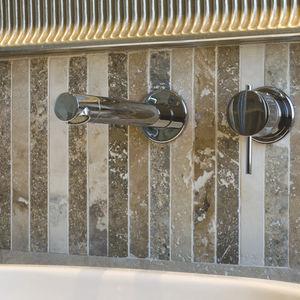 mosaïque de salle de bain / murale / en travertin / rectangulaire