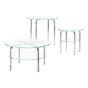 table d'appoint contemporaine / en verre / avec piètement en métal chromé / ronde
